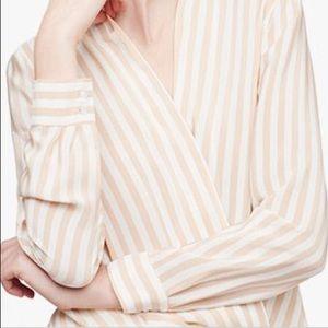 NWOT Cuyana Silk Wrap Blouse in Nude/White Stripe